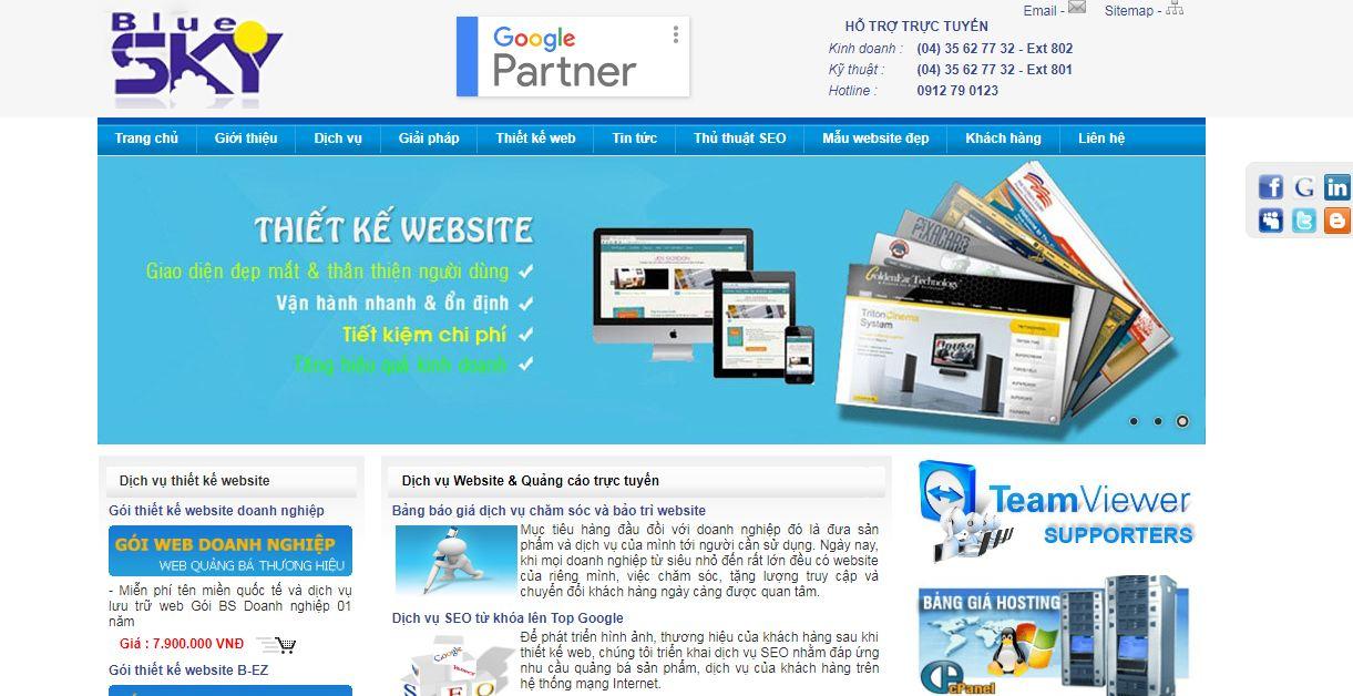 Công ty thiết kế website Bluesky tại Hà Nội